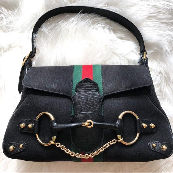 8a1b912bf26c Gucci Handbags - {GUCCI} Black Monogram Canvas Leather Horsebit Bag